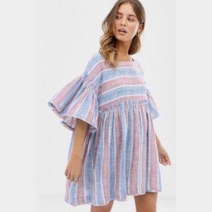 Free People Summer Night Tunic Mini Dress Blue Lag